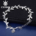 Charm Bracelet  Cheapest Fashion   silver      bracelet  Factory Price  Leaf bracelet  CYPRIS  jewelry