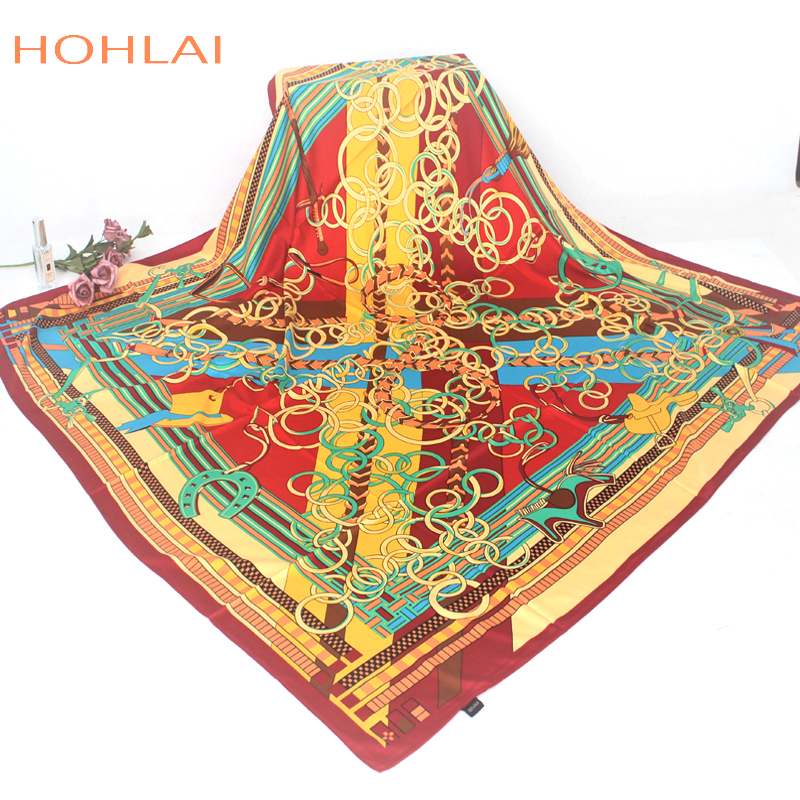130*130cm large size ladies 100% twill silk scarves 2018 brand chain belt splicing pattern digital print silk womens scarf