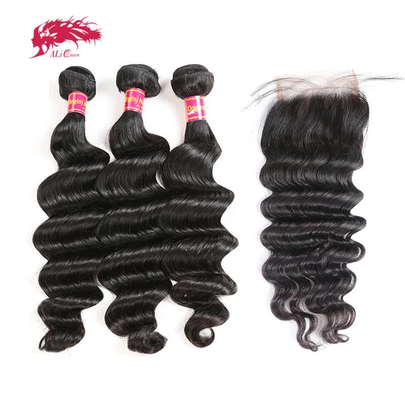 Ali Queen Hair Products 3Pcs Brazilian Loose Deep Human Hair Bundles With Swiss Lace Closure Middle
