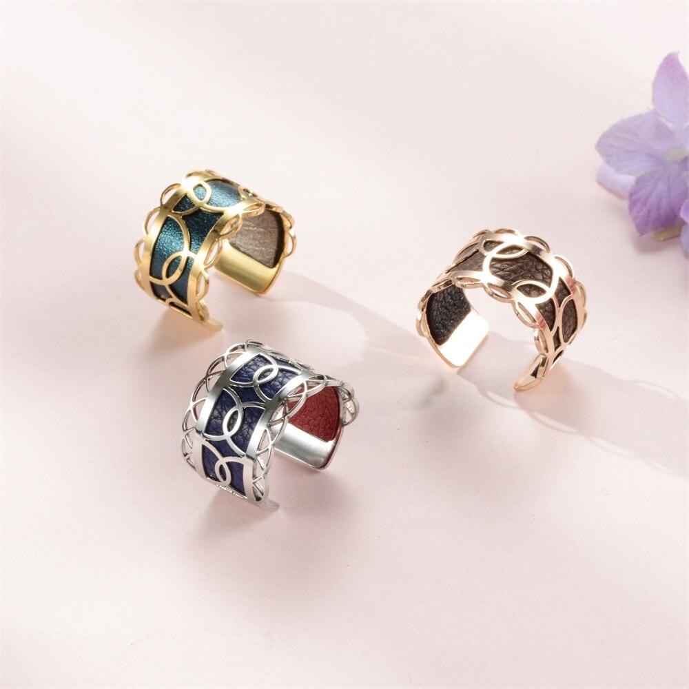Legenstar Adjustable Ring for Women Hoop Pattern Reversible Leather Stainless Steel Bague Homme Engagement Rings 2021 Trendy