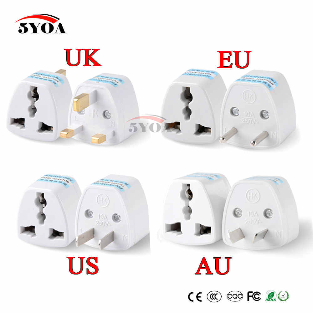 1 ST Universele US UK Au EU Plug USA Om Euro Europa reizen Muur AC Power Charger Outlet Adapter Converter 2 Ronde Socket Pin