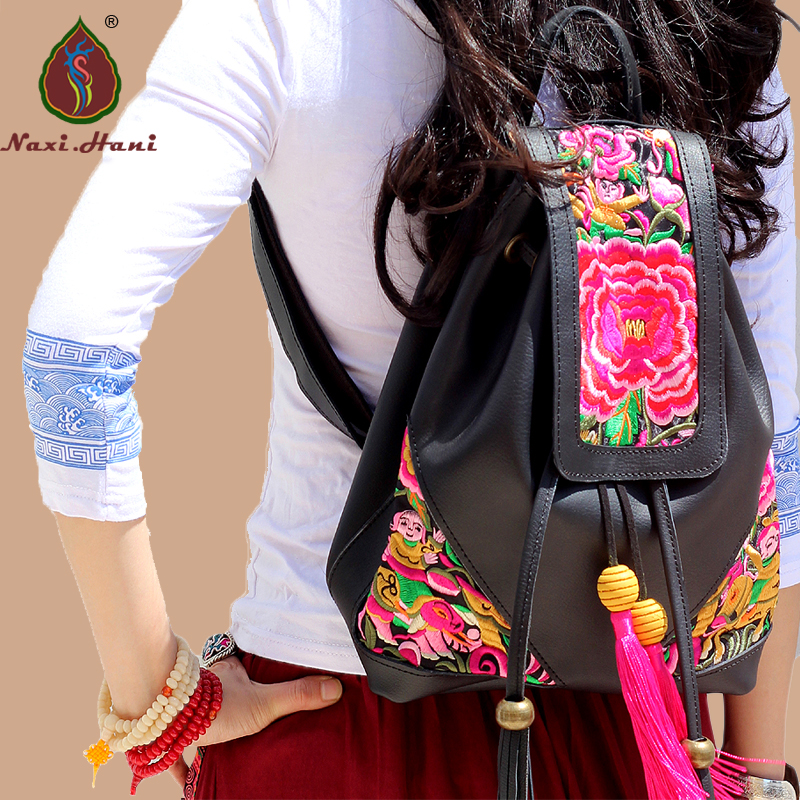 ФОТО Newest Thailand embroidery Split Leather travel Backpack Naxi.Hani National Style Black leather women Backpack