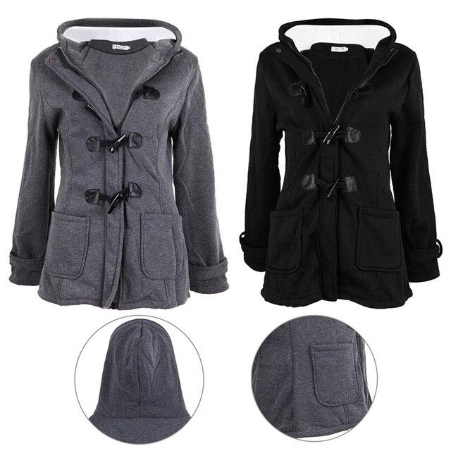 Женская Мода Ветровка Верхняя Одежда Черное пальто Теплая Зима Тонкий Длинный Жакет Пальто Parka