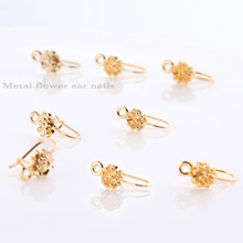 new korean gold plating flowers u-shaped stud earrings for women girls material fashion diy handmade ear jewelry accessories