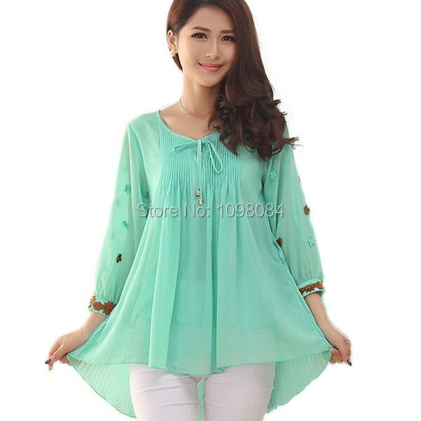 korean style women blouses and shirts puff peplum top mori girl plus size  women clothing kimono shirt women tops blusas WD195-in Blouses   Shirts  from ... 4b56f9a59f72