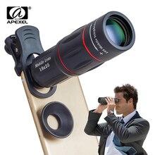 Apexel 18x zoom telescópio lente do telefone móvel para iphone samsung smartphones universal clipe telefon lente da câmera com tripé 18xtzj