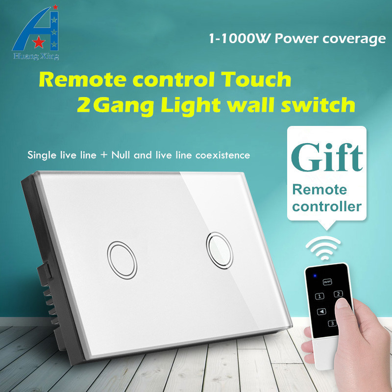 HUANGXING AU/US Standard, Smart Wireless Remote Control Light Switch 2Gang1Way, 1000W Touch Wall Switch 240V, With LED Indicator smart home us au wall touch switch white crystal glass panel 1 gang 1 way power light wall touch switch used for led waterproof