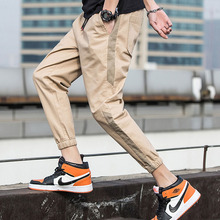 Men pants thin 2019 new spring and autumn cotton casual male ankle-length black gray khaki hot sale Korean style n28
