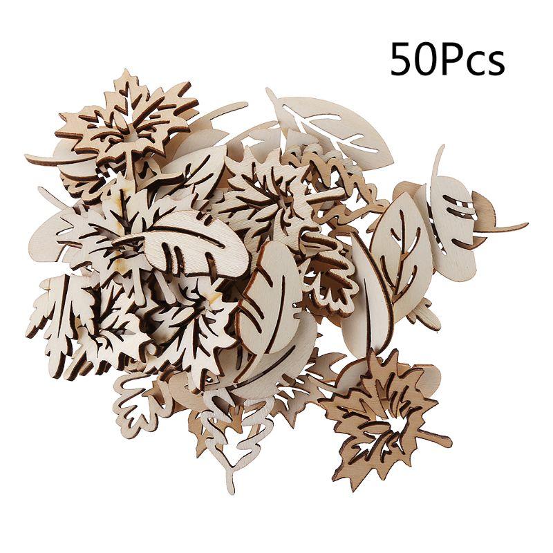 50Pcs/Bag Laser Cut Wood Embellishment Wooden Shape Craft Wedding Decor