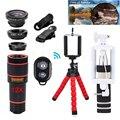 Kit 12X Zoom Telefoto Lentes Lentes Da Câmera do telefone Tripé Clipes 12in1 fisheye grande angular macro lens para telefone celular iphone 7