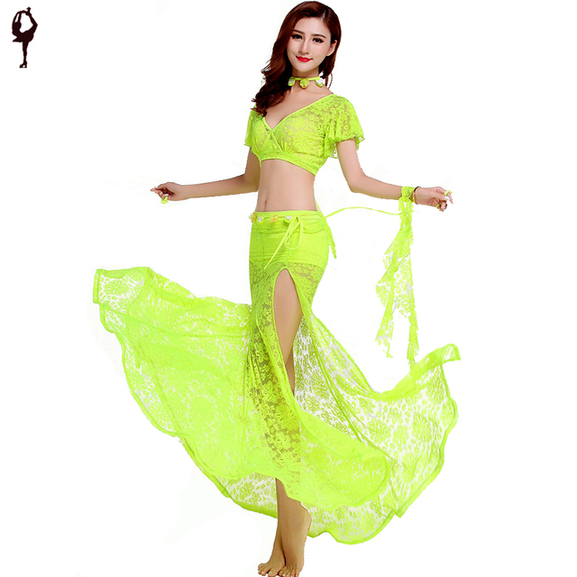 2017 New Sexy Belly Dance Costumes 2pcs(Top+Skirt) 6 Colors Bollywood Dance  Costumes Indian Dress Danca Do Ventre fe9b35066f8e