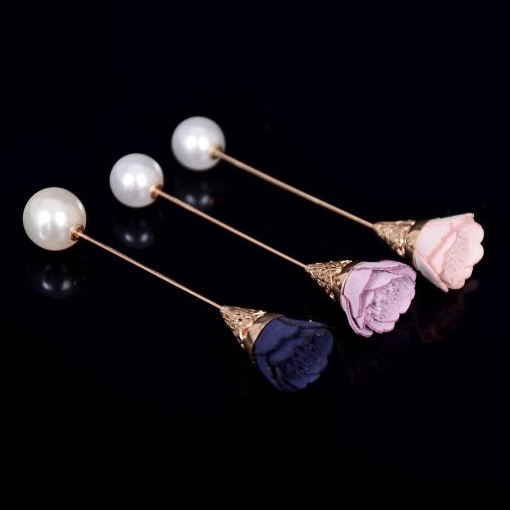 موضة بسيطة نمط سبائك النسيج زهرة بروش دبوس طويل مقلد بيرل دبابيس للنساء مجوهرات اكسسوارات الحفلات