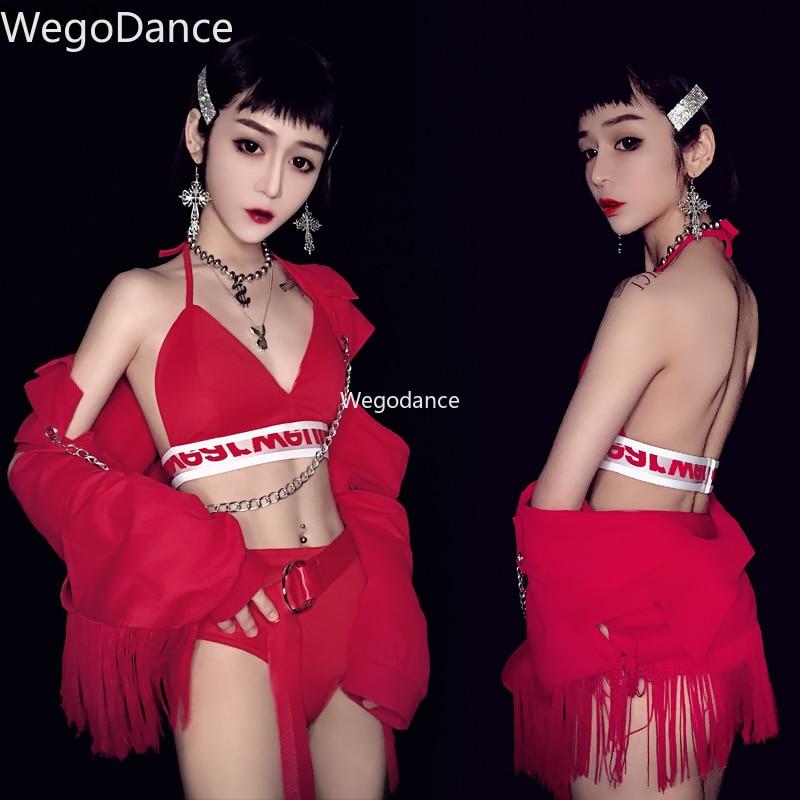 New Red Fringe Bar DS Performing NightClub DJ Female Singer Sexy Gogo Show Lead Jazz Dance Tassel Costume Set