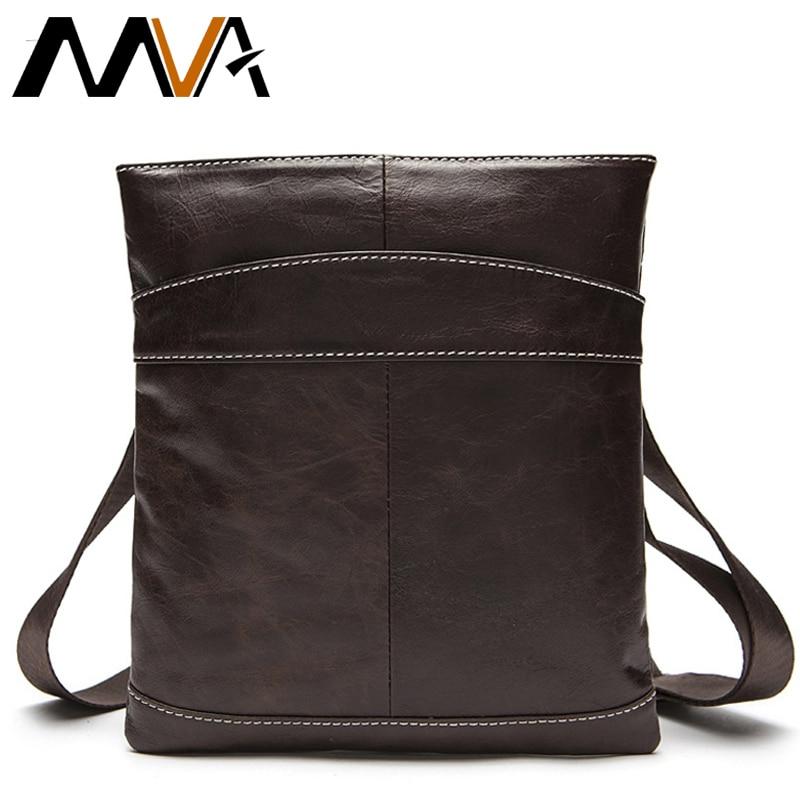 0377d64b3f557 MVA Erkek Çantası Hakiki Deri omuz çantası erkekler Deri omuz çantaları  erkek Küçük Rahat Crossbody Çanta için Adam mini ipad Flap 703
