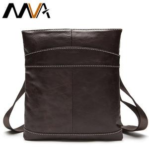 Image 1 - MVA Messenger Mens Bag shoulder Mens Genuine Leather bag Flap Small male man Crossbody bags for men natural Leather bags 703
