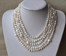 100 inches Long Pearl Jewellery,4-10mm White Color Freshwater Pearl Necklace,Baroque Pearl Jewelry,100% Real Pearls