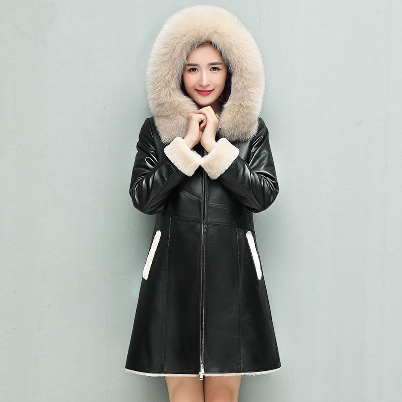 Winter Genuine Sheepskin Coats Natural Double-faced Fur Coat Fox Fur Hood Real Leather Jacket For Women Plus Size F0007