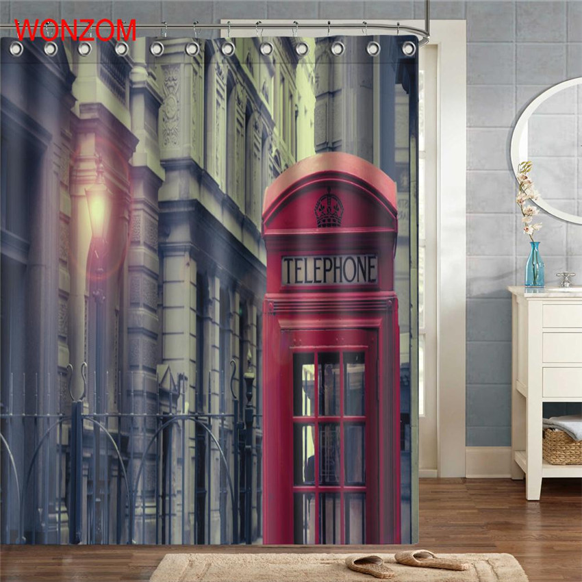 WONZOM Palace Polyester Fabric Bridge Shower Curtain Bathroom Decor Landscape Waterproof Cortina De Bano With 12 Hooks 2017 Gift