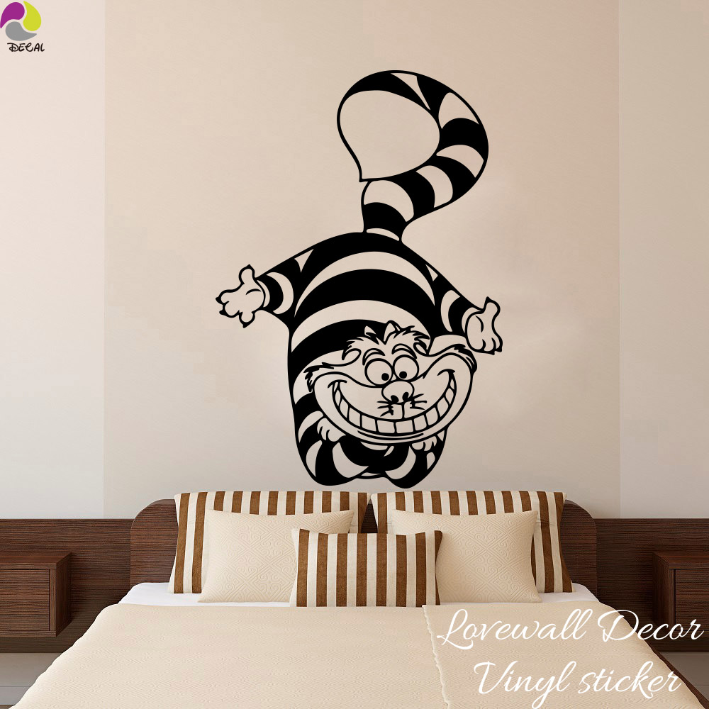 Katze Und Baby Im Schlafzimmer Us 8 57 10 Off Alice Im Wunderland Katze Wandaufkleber Baby Kindergarten Kinderzimmer Cartoon Cheshire Cat Anime Tier Wandtattoo Schlafzimmer Vinyl