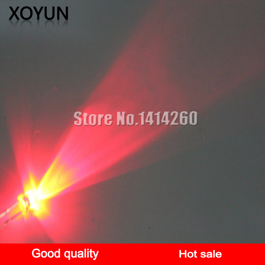 100pcs/lot 3MM White Hair Red Light Emitting Diode Ultra Bright LED LED Red Light Emitting Diode Red LED