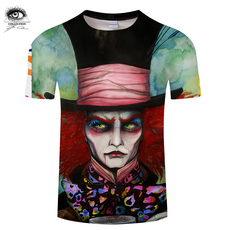 Mad Hatter by Pixie cold Art Funny 3D T-shirts Men Funny Printed T shirts Brand Tops Short Sleeve Camiseta Summer Top ZOOTOP BEA
