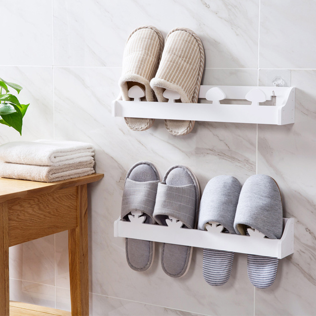 Anese Plank Wall Mounted Shoe Rack Three Dimensional Slippers Shelf Bathroom Shoes Hanging