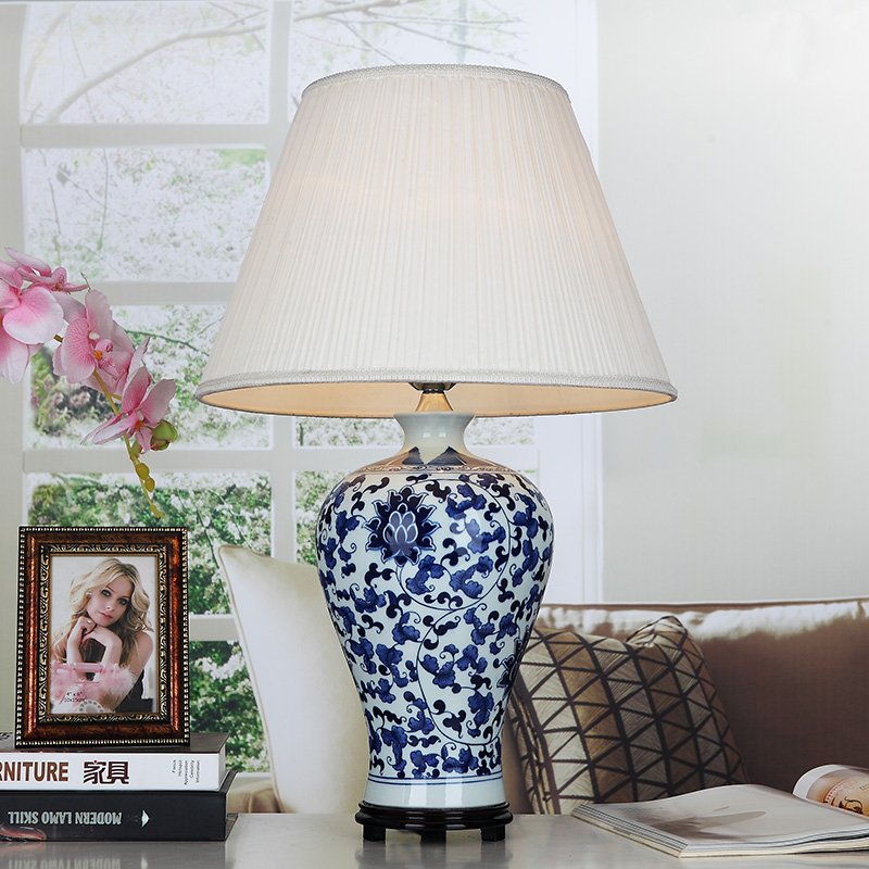 Blue handmade porcelain table lamps fabric lampshade wood base for bedroom living room lighting for Wooden table lamps for living room
