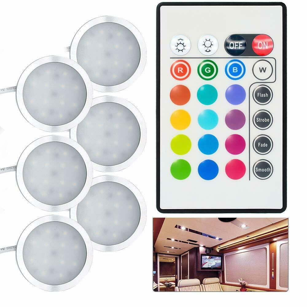 6pcs DC12V LED Under Cabinet RGB Light Recessed Kitchen Cupboard Showcase With Remote Camper Van Caravan Motorhome