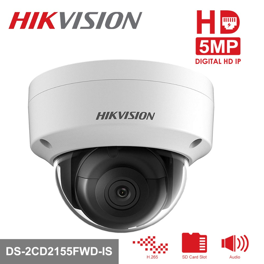 Hikvision Video Surveillance Camera 5MP Outdoor Indoor Dome IP Camera POE DS-2CD2155FWD-IS CCTV System Built-in SD card Slot 4pcs hikvision surveillance camera ds 2cd2155fwd i 5mp h 265 dome cctv ip camera hikvision nvr ds 7608ni i2 8p 8ch 8ports poe