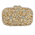 LaiSC newest Orange Crystal Clutch Bag Flower Evening Bag Diamond Studded Handbags Women Bridal Party Purse SC437