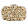 LaiSC newest Orange Crystal Clutch Bag Flower Evening Bag Diamond Studded Handbags Women Bridal Party Purse SC437