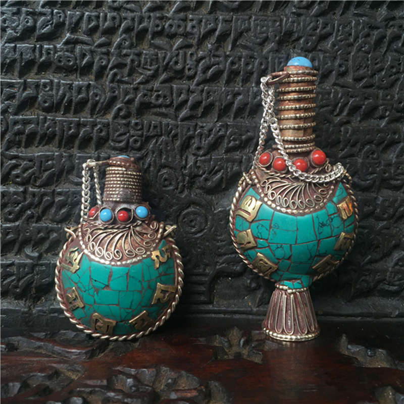 Tibetan Mantras Amulet Pendants Nepal Snuff Bottle Turqoise Color Tibet Collectibles Fork Arts snuff