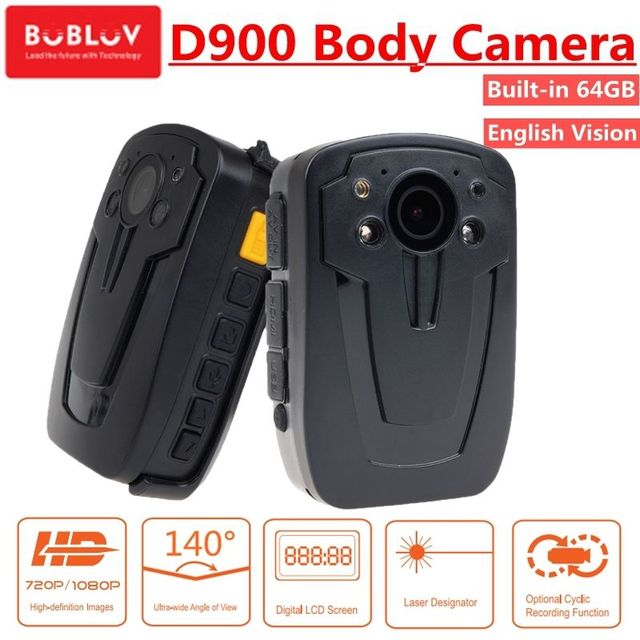Free shipping!64GB Police Cam DVR Hands Free Police Body Security Worn Camera D900 HD 1080P