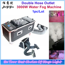 1x New Design Double Hose Outlet Water Smoke Machine DMX Remote Control Stage Effect 3000W Water Low Fog Machine