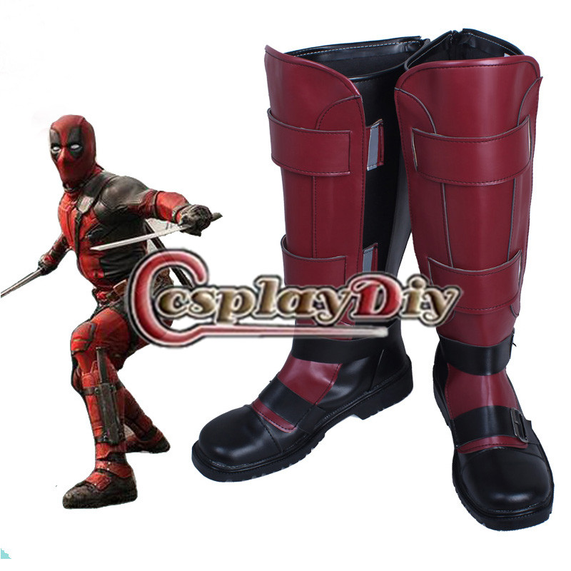 Deadpool Wade Wilson Cosplay Boots Shoes Accessories Adult Men Boots Custom Made saint seiya cosplay shoes boots anime shoes for adult men s halloween cosplay accessories custom made