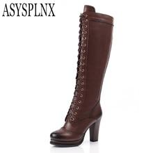 ASYSPLNX овчины Натуральная кожа круглый toe высокие каблуки колено высокие сапоги женщин Осень Западная платформа молния femal обувь
