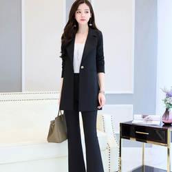 Индивидуальный Новый модный тренд, женский длинный костюм на одной пуговице, костюм из двух предметов (куртка + брюки), Женский деловой