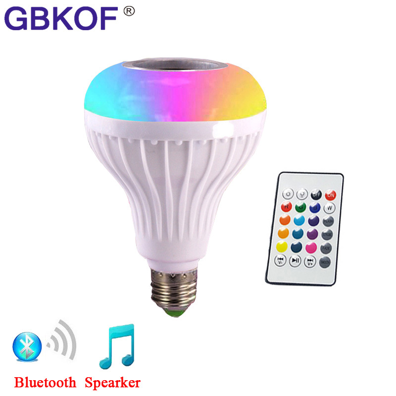 E27 Smart RGB Wireless Bluetooth Speaker Bulb Music Playing Dimmable LED RGB Music Bulb Light Lamp with 24 Keys Remote Control smuxi e27 led rgb wireless bluetooth speaker music smart light bulb 15w playing lamp remote control decor for ios android