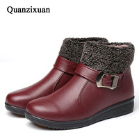 Women Boots 2017 Fashion PU Leather Ankle Boots Women Winter Boots Short Plush Casual Women Shoes