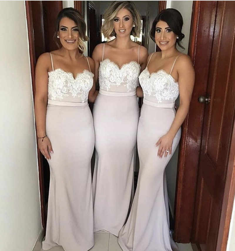 New Spaghetti Straps Bridesmaid Gowns Peach Ivory Champagne Silver Coral Burgundy Pink Lace Applique Mermaid Bridesmaid Dresses