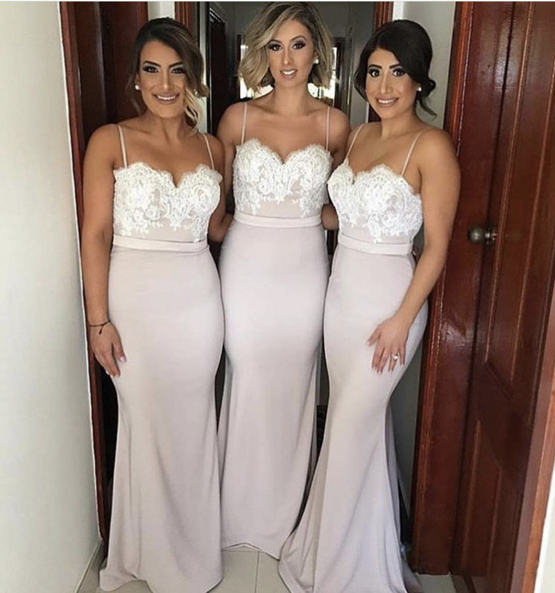 New Spaghetti Straps   Bridesmaid   Gowns Peach/Ivory/Champagne/Silver/Coral/Burgundy/Pink Lace Applique Mermaid   Bridesmaid     Dresses