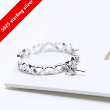 ФОТО 925 sterling silver heart  adjustable size pearl  open size adjustable rings diy findings&components free shipping