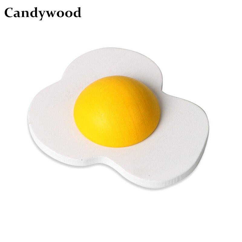 Candywood Mother Garden Wooden Egg Kitchen Toys Fun Cute Magnetic Omelette Egg Yolk For Girls Children Boys Pretend Play Toys