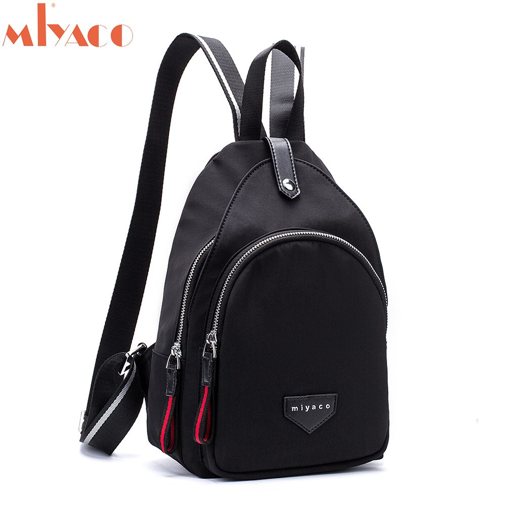 цена на MIYACO Small Female Backpack Fashion Backpacks for Girls Casual School Bag Women Backpack Bags Nylon Black