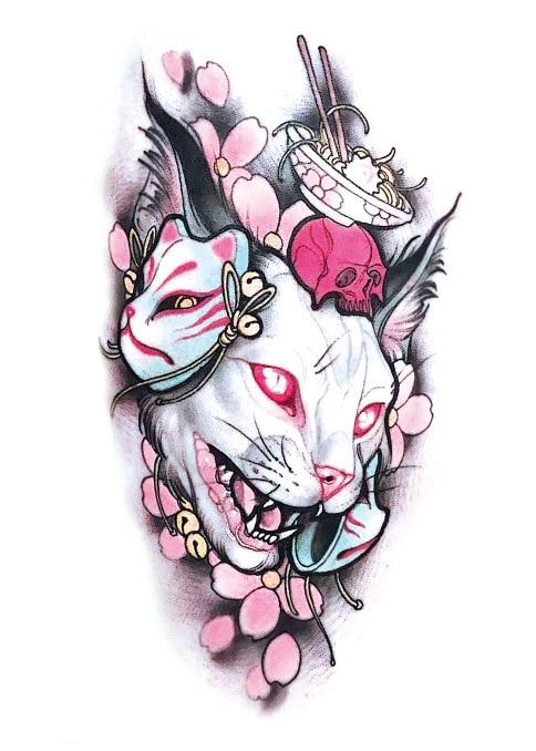 Temporary Tattoo Sticker Large Size Body Art Flower Moonlight Cat God  Water Transfer Fake Tattoo Flash Tatto For Women Men