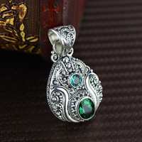 S925 silver fashion exquisite craft hand carved Retro Green crystal pendant jewelry wholesale upscale Ms.