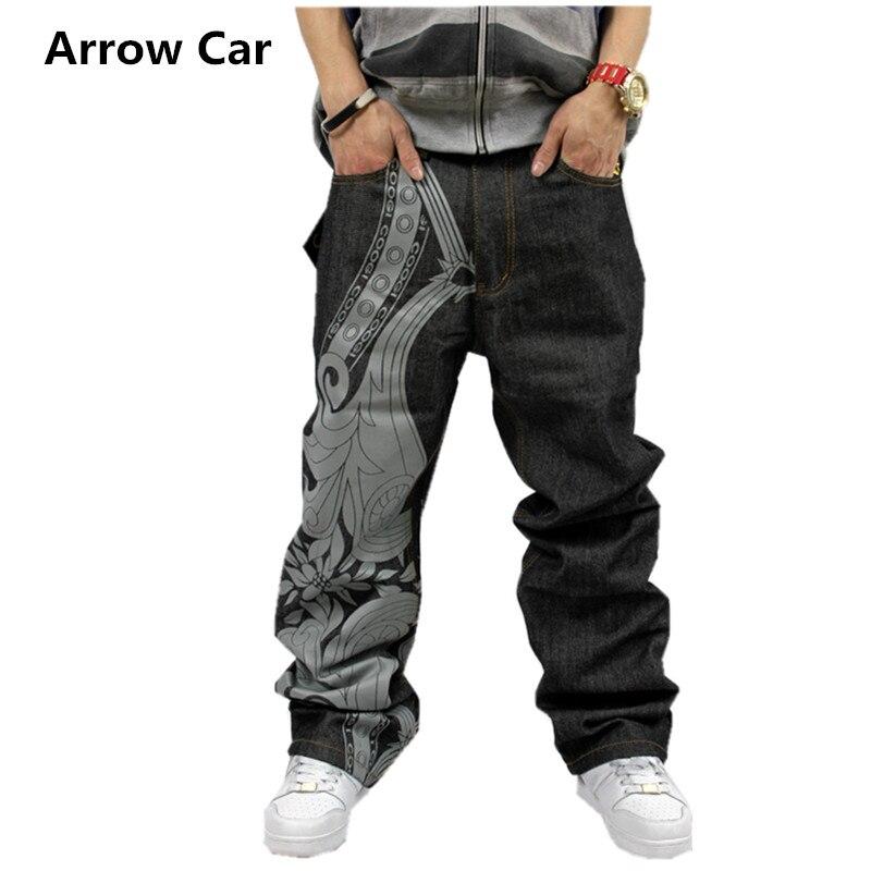 Тенденция Для мужчин прямые брюки хип-хоп джинсы хип-хоп Уличный танец каракули печати вышитые свободные Skate джинсы Для мужчин плюс размер 38...