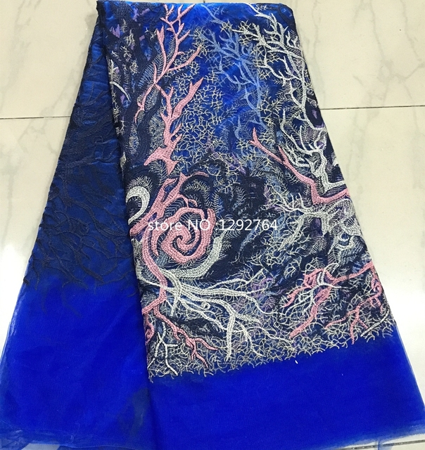Royalblue Color Embroidery Designs Polyester African Tulle Lace
