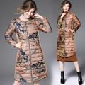 Venda quente Das Mulheres de Inverno jaqueta de pato para baixo mulheres parkas longo casaco Floral Impressão Feminino espessamento Roupas Quentes de Alta Qualidade W26