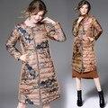 Venta caliente de Las Mujeres pato abajo las mujeres chaqueta de Invierno abrigo largo parkas Impresión Floral Femenino engrosamiento Ropa de Abrigo de Alta Calidad W26